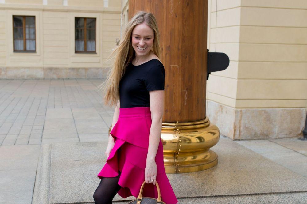 mystyleportfolio pink ruffled skirt